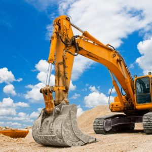 Excavator using high resistance ball bearings for earth moving machinery